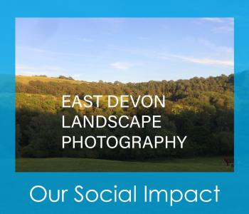 Hills with text saying 'East Devon Landscape Photography'